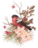 Composition décorative en rétro aquarelle de Noël Photographie stock libre de droits