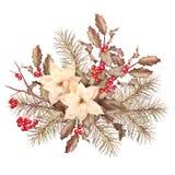 Composition décorative en rétro aquarelle de Noël Images stock