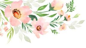 Composition décorative florale verte rose pour épouser l'invitation illustration stock