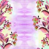 Composition décorative - Paisley sur un fond d'aquarelle Watercol Images libres de droits