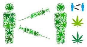 Composition d'échange de seringue d'hommes des feuilles de chanvre illustration de vecteur