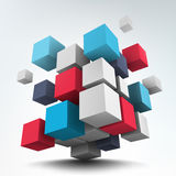 Composition with 3d cubes Royalty Free Stock Images
