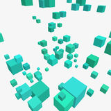 Composition with 3d cubes. Modern vector illustration with chaotic array of colorful cubes. Soaring rectangular 3d shapes on a bright background. Random Stock Image