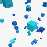 Composition with 3d cubes. Modern vector illustration with chaotic array of colorful cubes. Soaring rectangular 3d shapes on a bright background. Random Royalty Free Stock Photography