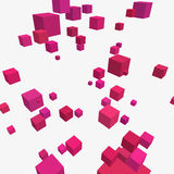 Composition with 3d cubes. Modern vector illustration with chaotic array of colorful cubes. Soaring rectangular 3d shapes on a bright background. Random Stock Images