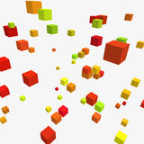 Composition with 3d cubes. Modern vector illustration with chaotic array of colorful cubes. Soaring rectangular 3d shapes on a bright background. Random Royalty Free Stock Image