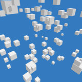 Composition with 3d cubes. Modern vector illustration with chaotic array of gray cubes. Soaring rectangular 3d shapes on the colorful background. Random Royalty Free Stock Photography