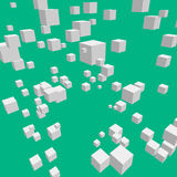 Composition with 3d cubes. Modern vector illustration with chaotic array of gray cubes. Soaring rectangular 3d shapes on the colorful background. Random Royalty Free Stock Images