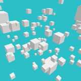 Composition with 3d cubes. Modern vector illustration with chaotic array of gray cubes. Soaring rectangular 3d shapes on the colorful background. Random Stock Image