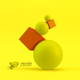 Composition of 3d geometric shapes. Vector Royalty Free Stock Photography