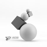Composition of 3d geometric shapes. Vector Illustration. Stock Image