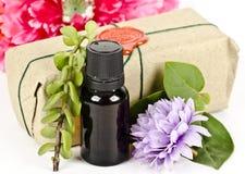 Composition d'huile aromatique avec des herbes et des fleurs image libre de droits