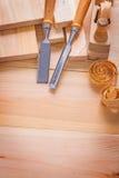 Composition d'image de Copyspace des outils de travail du bois Photographie stock libre de droits