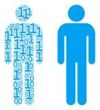 Composition d'utilisateur d'homme des éléments binaires Photographie stock