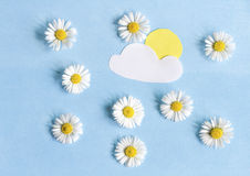 Composition of daisies and paper applications Stock Photography