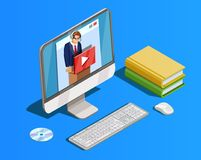 Composition de étude à distance en espace de travail Image libre de droits