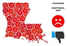 Composition de carte d'état de la Louisiane de crise de vecteur d'Emojis triste illustration libre de droits