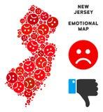 Composition de carte d'état de New Jersey de tristesse de vecteur d'Emojis triste illustration de vecteur