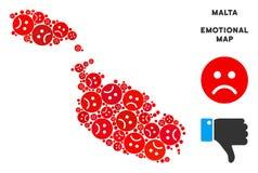 Composition de carte d'île de Malte de tristesse de vecteur des smiley tristes illustration stock