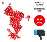 Composition de carte d'île de Mayotte de crise de vecteur des smiley tristes illustration libre de droits