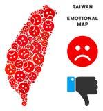 Composition de carte d'île de Taïwan de Dolor de vecteur d'Emojis triste illustration libre de droits