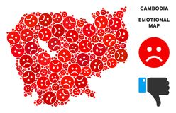 Composition de carte du Cambodge de tristesse de vecteur des smiley tristes illustration libre de droits