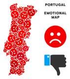 Composition de carte du Portugal de crise de vecteur d'Emojis triste illustration stock