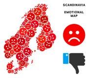 Composition de carte de la Scandinavie de tristesse de vecteur des smiley tristes illustration stock