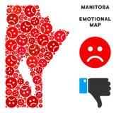 Composition de carte de province de Manitoba de crise de vecteur d'Emojis triste illustration de vecteur