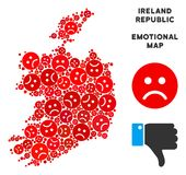 Composition de carte de République de l'Irlande de Dolor de vecteur des smiley tristes illustration de vecteur