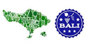 Composition de carte de vin de raisin d'île de Bali et de joint grunge du meilleur vin illustration de vecteur