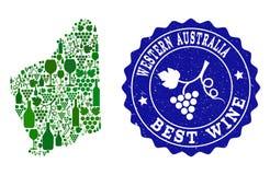 Composition de carte de vin de raisin de filigrane grunge d'Australie occidentale et de meilleur vin illustration stock