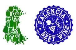 Composition de carte de vin de raisin de province espagnole de Palencia et de meilleur timbre de vin illustration libre de droits