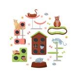 Composition de cercle des chats et de leurs maisons sur le fond blanc Équipement félin différent, arbre de chat de meubles avec l illustration libre de droits