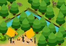 Composition de chasse colorée isométrique illustration libre de droits