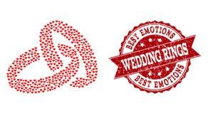 Composition de coeur d'amour d'icône d'anneaux de mariage et de filigrane en caoutchouc illustration stock