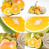 Composition de divers fruits et citron Images libres de droits