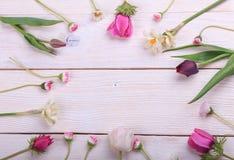 Composition de fête en fleur sur le fond en bois blanc Vue supplémentaire Image libre de droits