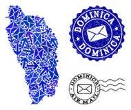 Composition de la livraison de courrier de carte de mosaïque de Dominica Island et des timbres grunges illustration stock