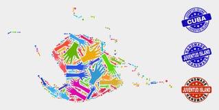 Composition de main de carte d'île de Juventud et de joints faits main grunges illustration stock