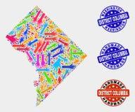 Composition de main de Washington District Columbia Map et affliger les timbres faits main illustration stock