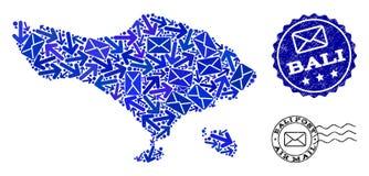 Composition de manières de courrier de carte de mosaïque d'île de Bali et de timbres grunges illustration stock