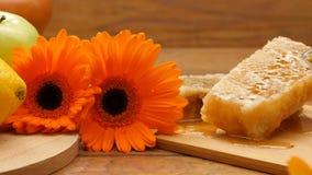 Composition de miel, de nid d'abeilles, de fruits, de pain d'abeille et de fleurs (casserole de RL, aucun 10 3) clips vidéos