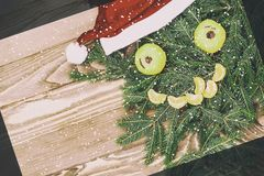 Composition de Noël Modèle de Noël avec les mandarines, le visage drôle de branche de sapin fait en sapin et les branches de mand images stock