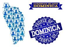 Composition de personnes de carte de mosaïque de Dominica Island et de timbre rayé illustration de vecteur