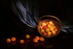 Composition de ressort des abricots mûrs dans le plateau en osier Photo stock