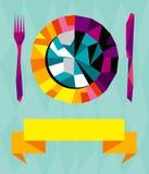 Composition de restaurant d'Origami. illustration stock
