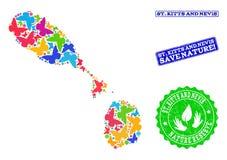 Composition de sauvegarde de nature de carte de saint Kitts et Niévès avec des papillons et des timbres rayés illustration stock