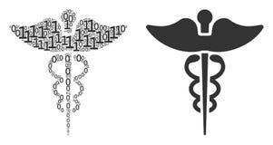 Composition de symbole de caducée de médecine des éléments binaires illustration libre de droits