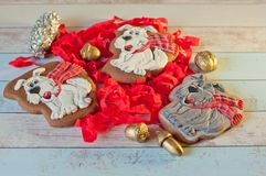 Composition de trois biscuits de pain d'épice dans la forme des chiens et des décorations de Noël sur la table Image libre de droits